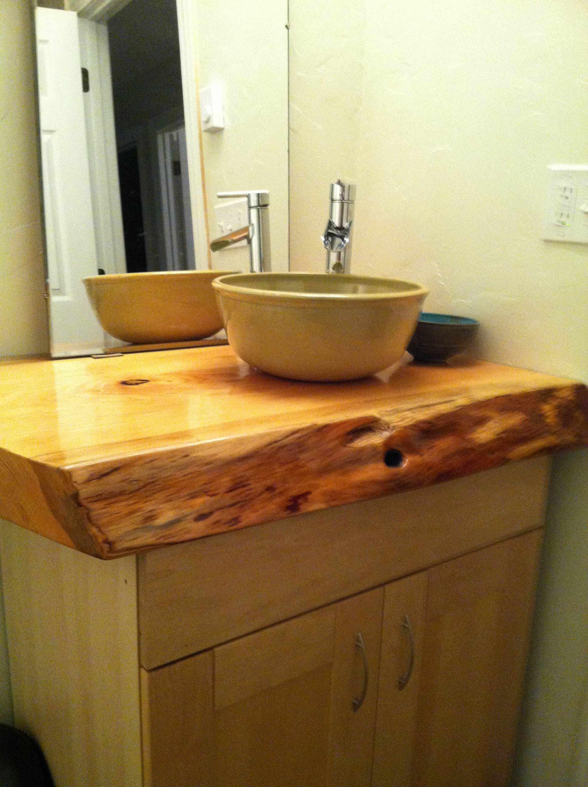 Doug fir slab, turned into a gorgeous bathroom counter top