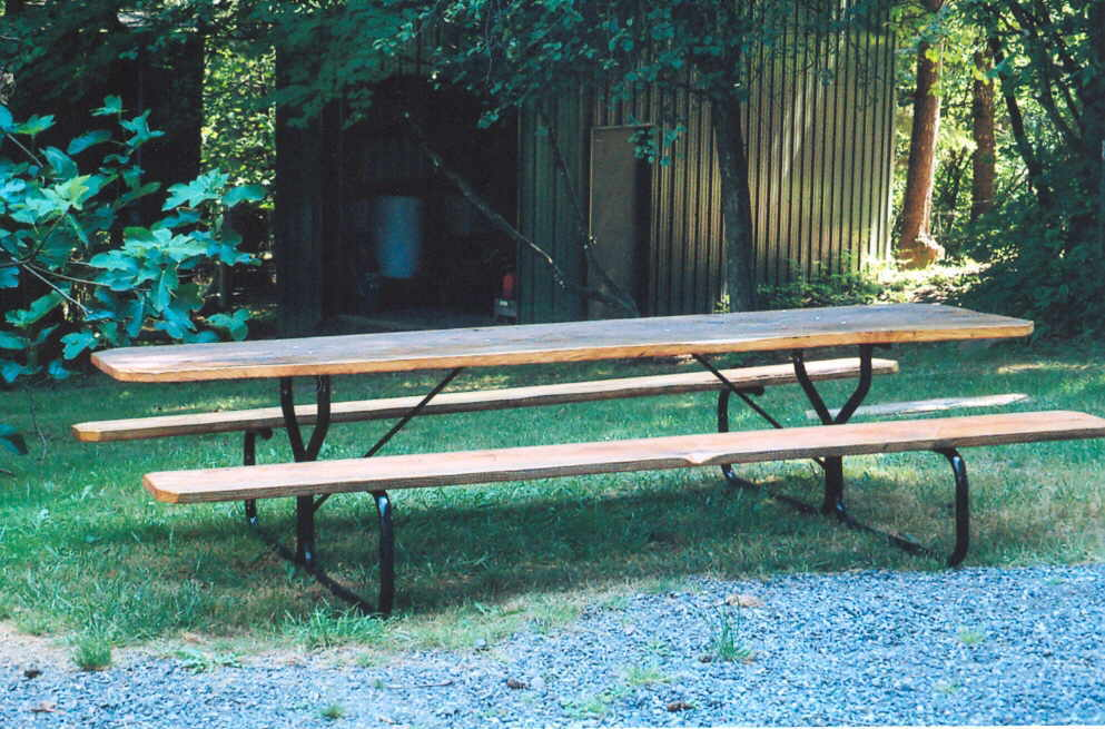 10-foot picnic table crafted by David Gordon, using solid fir slabs