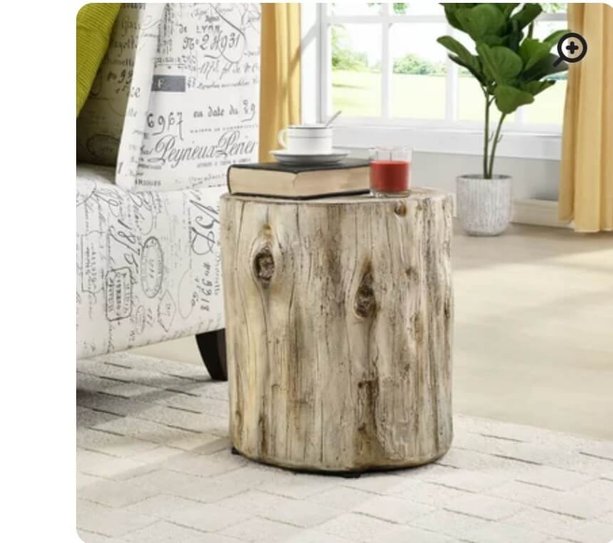 Classy side table made from a stump - now that's recycle and reuse!