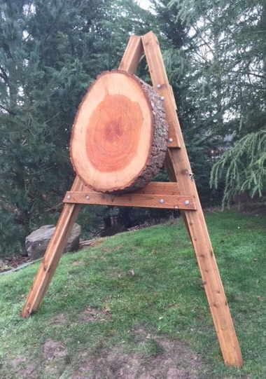 Doug fir round mounted on a frame as a tomahawk target